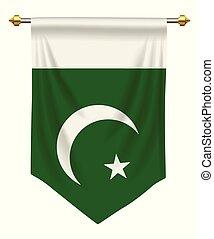Pakistan Pennant - Pakistan flag or pennant isolated on...