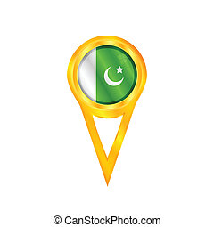 Pakistan pin flag - Gold pin with the national flag of...