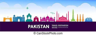 pakistan, spielraum- bestimmungsort, vektor, großartig, ...
