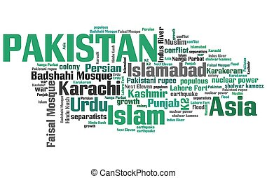 Pakistan tag cloud illustration. Country word collage.