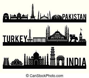 Pakistan Turkey India famous landmark silhouette style with ...