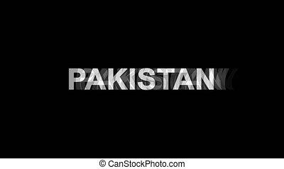 pakistan, tv, texte, effet, déformation, glitch, animation, 4k, numérique, boucle