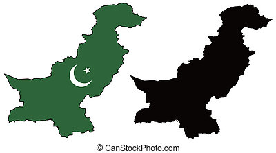 vector precise map and flag of Pakistan with white background.