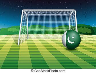 pakistan vlag, bal, voetbal