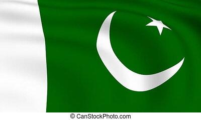 pakistan vlag, looped, |, vliegen