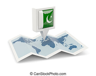 pakistan vlag, plein, spelden, kaart