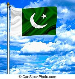 Pakistan waving flag against blue sky