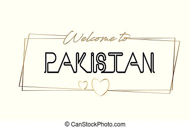 Pakistan Welcome to text Neon lettering typography. Word for logotype, badge, icon, postcard, logo, banner Vector Illustration.
