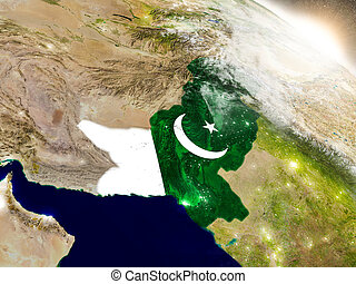 Pakistan with flag in rising sun - Pakistan with embedded ...
