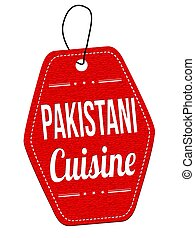 Pakistani cuisine red leather label or price tag on white...