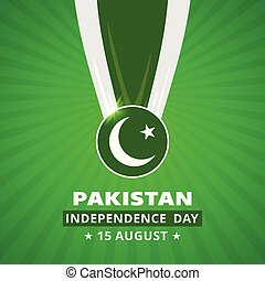 Pakistani Day Medal with Flag on abstract glowing background. Pak Wallpaper. New Pakistani Freedom Day 2016. Vector 14 August Pakistan Independence Day. Celebration Card. Illustration