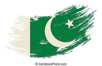 Pakistani flag grunge brush background. Vector illustration.
