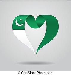 Pakistani flag heart-shaped ribbon. Vector illustration. -...