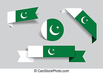 Pakistani flag stickers and labels. Vector illustration. -...