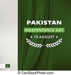 Pakistani Flag style background. Pak Wallpaper. New Pakistani Freedom Day 2016. Vector 14 August Pakistan Independence Day. Celebration Card. Illustration