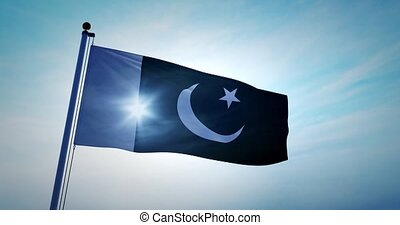 Pakistani flag waving depicts the national symbol of Pakistan - 4k
