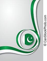 Pakistani flag wavy background. Vector illustration. -...