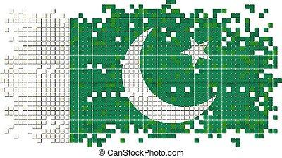 Pakistani grunge tile flag. Vector
