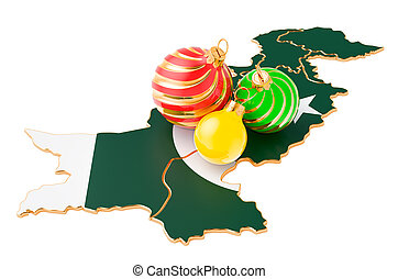 Pakistani map with colored Christmas balls. New Year and Christmas holidays concept, 3D rendering