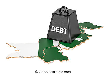 Pakistani national debt or budget deficit, financial crisis concept, 3D rendering