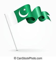 Pakistani pin wavy flag. Vector illustration. - Pakistani...