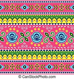 Pakistani seamless vector pattern, Indian truck art design, navy blue and pink ornament with flowers and abstract shapes