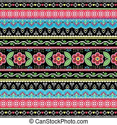 Pakistani truck art floral seamless folk art pattern, Indian Jingle trucks vector design,  vivid ornament with flowers and abstract shapes