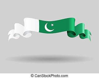 Pakistani wavy flag. Vector illustration. - Pakistani flag...
