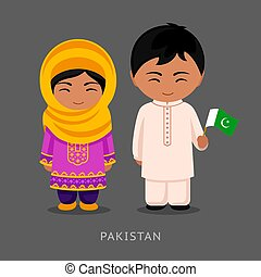 Pakistanis in national dress with a flag.