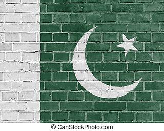 pakisztán, politika, concept:, pakistani lobogó, fal