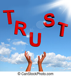 pakkend, brieven, spelling, vertrouwen, als, symbool, voor,...