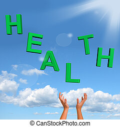 pakkend, gezondheid, woord, het tonen, een, gezonde ,...