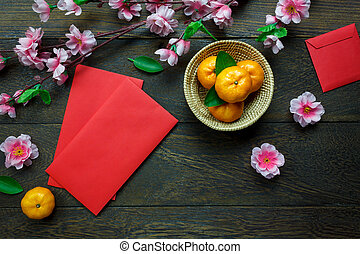 pakket, chinees, mand, straatfeest, decorations.orange,...