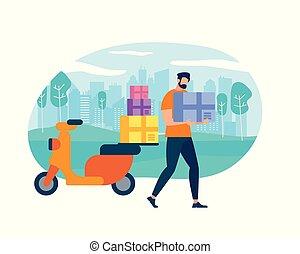 pakket, karakter, brievenbesteller, courier, motorfiets
