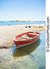 pakostane, kroatien, -, a, rotes , ruderboot, strand, von,...