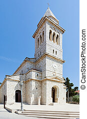 pakostane, kroatien, -, schöne , alte kirche, architektur,...