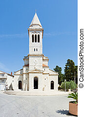 pakostane, kroatien, -, schöne , altes , kirchturm,...