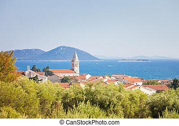 pakostane, pakostane, -, kroatien, kuesten, kirchturm,...