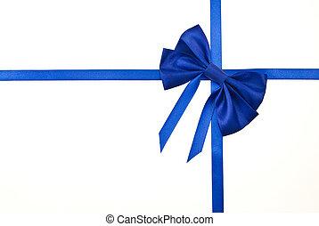 pakowanie, błękitny, wstążki, odizolowany, łuk daru, biały