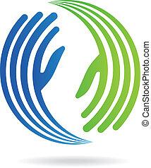 pakt, logo, bild, hände