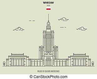 palácio, cultura, marco, varsóvia, ícone, poland., sciencel