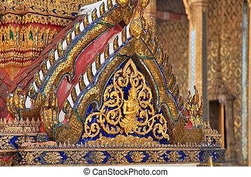 palácio, detalhe, bangkok, grandioso, tailandia, templo