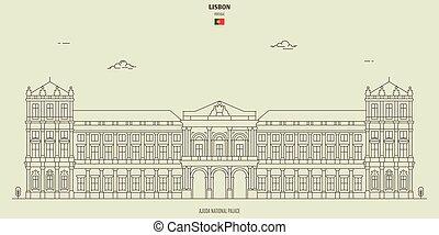 palácio, lisboa, marco, nacional, ajuda, portugal., ícone