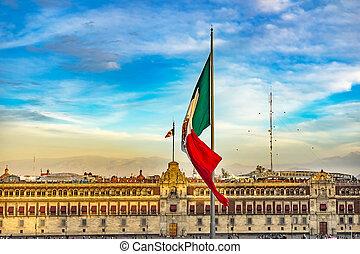palácio, presidencial, méxico, monumento, cityty, sacada,...