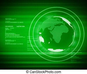 pal, digitale wereld, met, globe