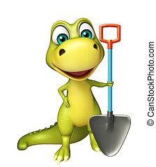 pala, carácter, dinosaurio, cavar, diversión, caricatura