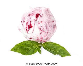 pala, cima, hielo, fresa, plano de fondo, blanco, crema