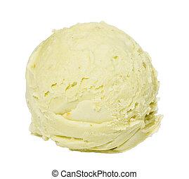 pala, cima, hielo, pistacho, plano de fondo, blanco, crema