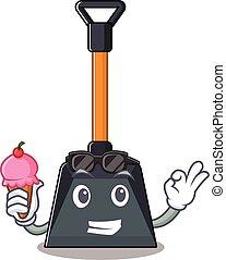 pala, diseño, caricatura, nieve, mascota, helado