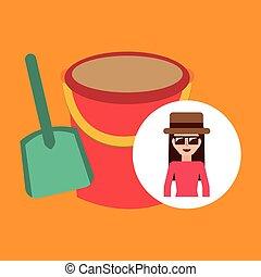 pala, gafas de sol, cubo, arena, hembra, sombrero, toursit
